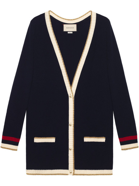 gucci cardigan knitted cardigan cardigan embroidered women cotton blue wool sweater