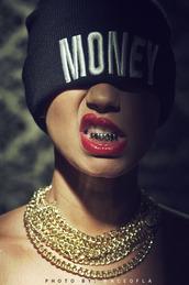 hat,money,gold,beanie,black,white,Paloma Ford