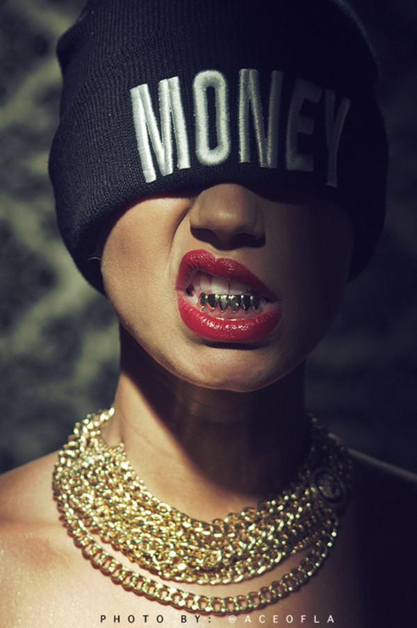 hat money gold beanie black white Paloma Ford