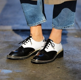 shoes black and white brogues