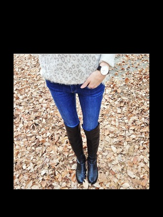 sweater leopard print grey jeans boots