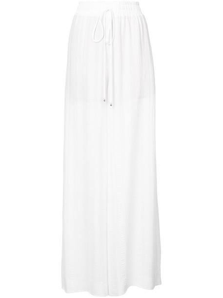 women drawstring white silk pants
