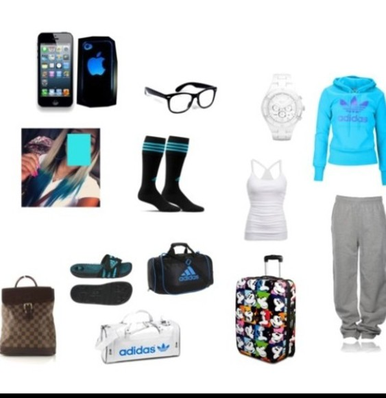 tank top gotta have it pants sunglasses shoes jewels steal her style sweater blue shirt bag