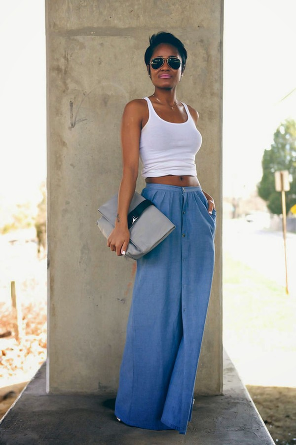 Cute Maxi Skirt - Denim Chambray - Maxi Skirt - $54.00