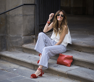 rebel attitude blogger pants shirt shoes striped pants sandals red bag white top summer outfits