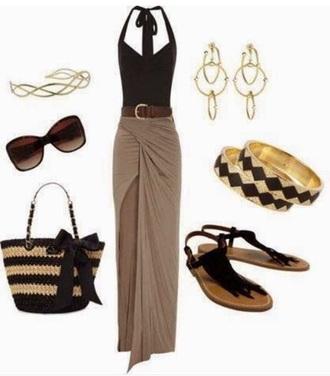 skirt brown mxi skirt slit