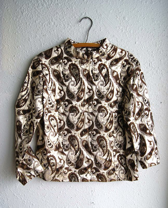 1960s Gold Metallic Paisley Brocade Top by RevivalVintageAustin