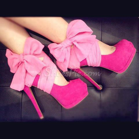 Fashionable Rose Suede Platform Side Bowtie High Heel Shoes