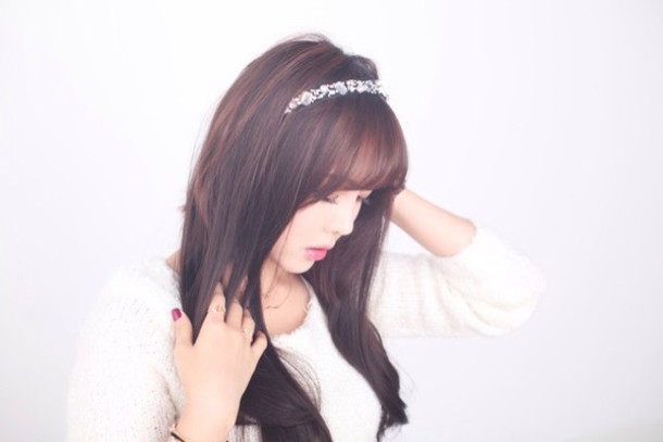 hair accessory white diamonds cute headband kfashion girl korean fashion cute headband white headband