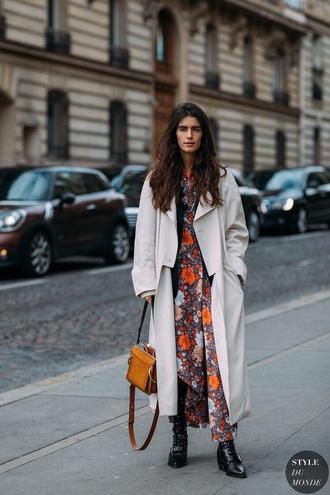 coat white coat oversized coat oversized dress floral dress floral boots black boots maxi dress