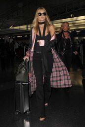 coat,kimono,pants,jeans,top,scarf,model off-duty,rosie huntington-whiteley