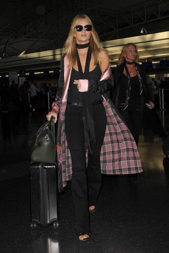 coat kimono pants jeans top scarf model off-duty rosie huntington-whiteley