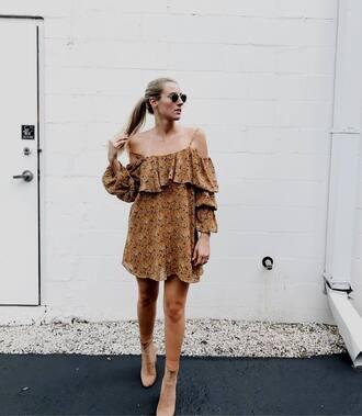 dress tumblr mustard mini dress off the shoulder off the shoulder dress long sleeves long sleeve dress boots sock boots ruffle ruffle dress shoes