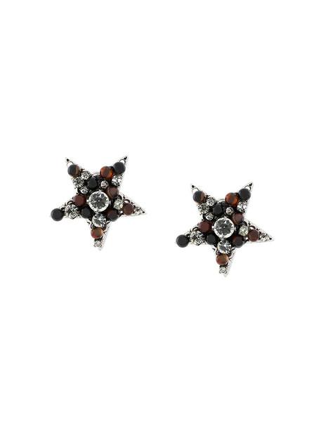 women embellished earrings stud earrings brown jewels