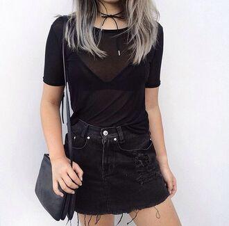 skirt sheer black shirt lace up choker distressed denim skirt black handbag blogger