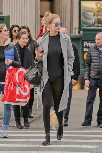 top black leotard leotard bodysuit black bodysuit tights coat grey coat bag black bag sunglasses mirrored sunglasses ballet flats flats black flats