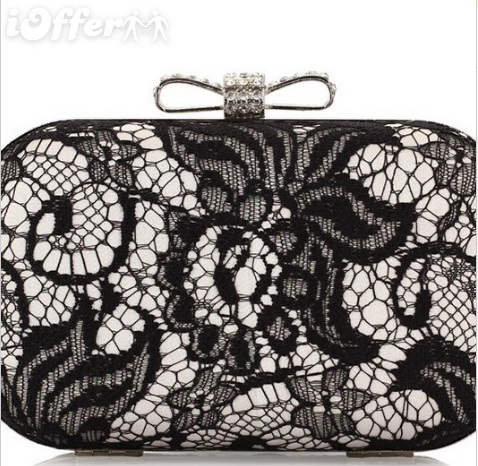 lace evening bag rhinestones clutch wedding handbag for sale