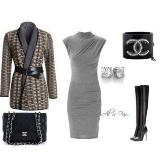 dress grey black silver bodycon boots heels shoes accessories jacket coat purse bag bracelets earrings