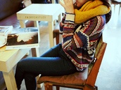 sweater,cute,winter outfits,tribal pattern,fashion,hipster,scarf,color/pattern,indie,cold,weather,indian,jeans,winter sweater,multicolor