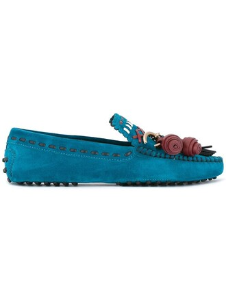 women loafers leather blue suede shoes