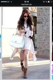 dress,selena gomez,bag,coat,hat