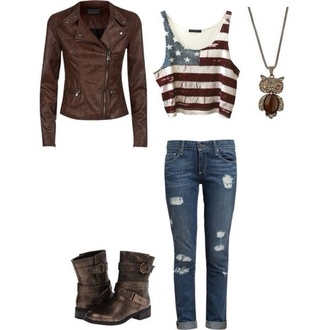 blouse jeans american flag leather jacket brown coat white blue red ripped jeans jacket shoes