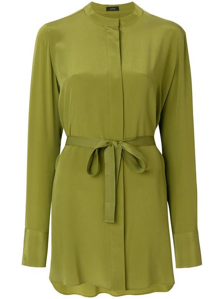 shirt women cotton silk green top
