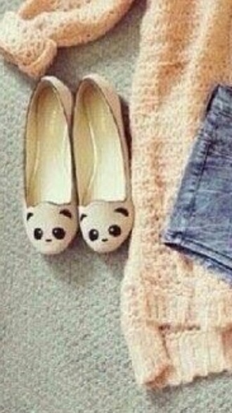 shoes panda flats tan cute flats