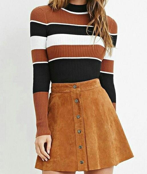 Shirt Stripes Burnt Orange Shirt Long Sleeves Sweater Striped Long Sleeve Striped Sweater Brown Skirt Suede Skirt Striped Top Suede Wheretoget