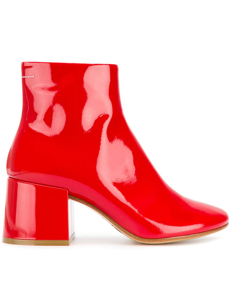 Mm6 Maison Margiela heel women heel boots leather red shoes