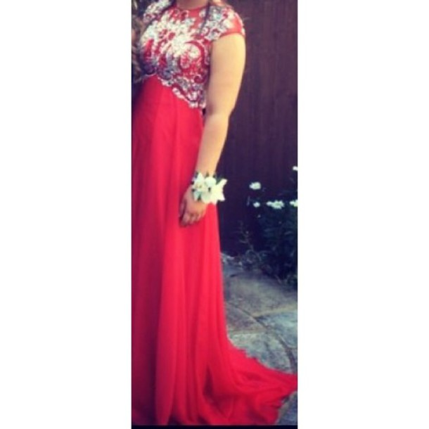 dress red evening gown prom dress trail short sleeves