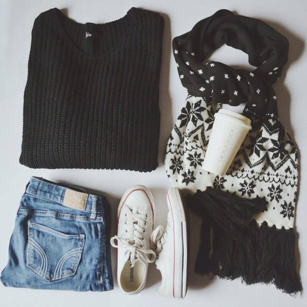 sweater scarf shorts shoes jumpsuit leggings jeans
