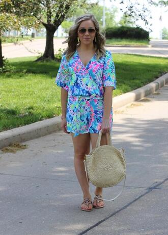 stylin in st. louis blogger romper jewels shoes bag sunglasses round bag straw bag summer outfits