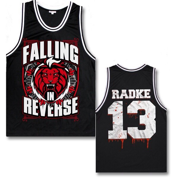 tank top faling in reverse ronnie radke 13 red white black blood lion band