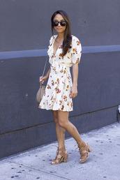 dress,tumblr,floral,floral dress,mini dress,sandals,sandal heels,high heel sandals,wrap dress,shoes