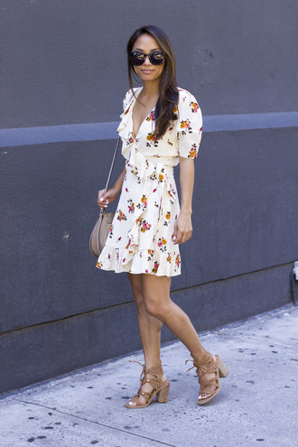 dress tumblr floral floral dress mini dress sandals sandal heels high heel sandals wrap dress shoes