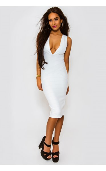Perfection White Bandage Midi Dress - from The Fashion Bible UK