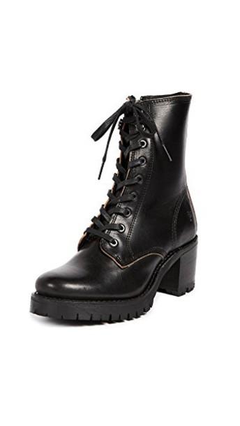 Frye Sabrina Combat Heeled Boots in black