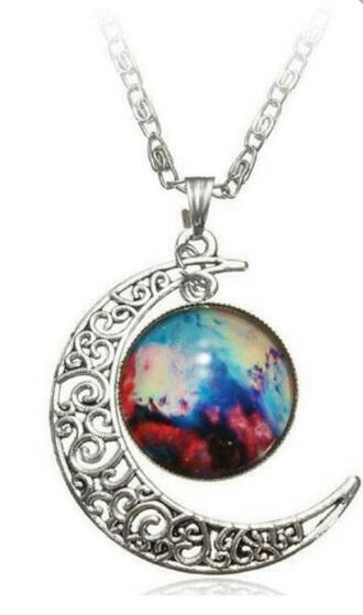 jewels silver galaxy print space moon