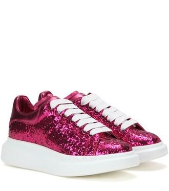 glitter metallic sneakers leather purple shoes