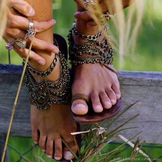 shoes jewels sandals boho hippie hobo chic hobo bronze copper feet