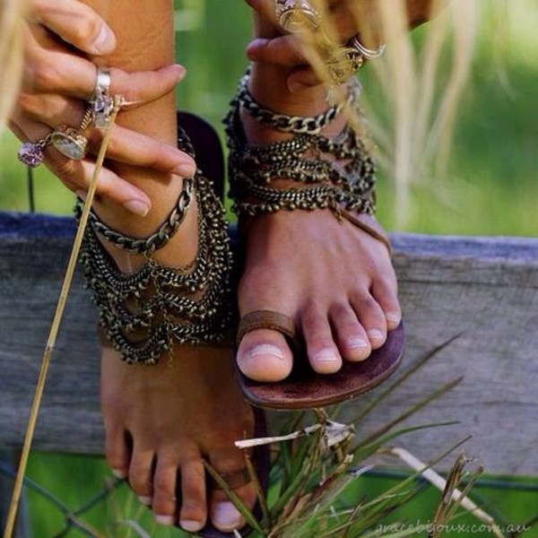 shoes jewels boho sandals gladiators chain sandals boho sandals hippie hippie hobo chic hobo bronze copper feet