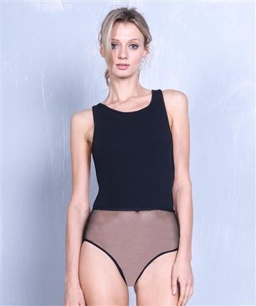 Sheer mesh razor back bodysuit