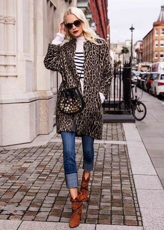shoes boots poppy delevingne jeans coat animal print fall outfits sweater instagram