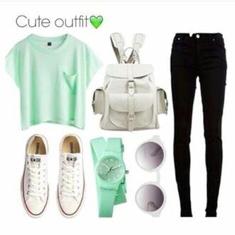 sunglasses mint green outfit mint bag black jeans converse mint green clock white glasses cat glasses fabulous classy cool fab i want everything shoes tank top shirt jeans