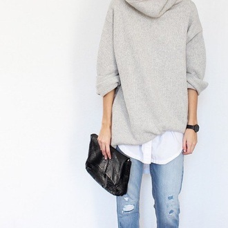 sweater beige taupe turtleneck sweatshirt oversized sweater oversized grey grey sweater