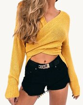 sweater,yellow,yellow top,yellow sweater,long sleeves,knit,knitwear,knitted top,knitted sweater,knitter sweater,wrap sweater,yellow pullover,v neck,plunge v neck,plunge neckline,sexy,sexy sweater,sexy pullover,wrap cardigan,loose cardigan,long top,asymmetrical top,asymmetrical cardigan,slit,slit top,side slit sweater,ribbon,ribbed top,beige,army green,army green sweater,nude,nude sweater,fasfas,fashionista,urban,cool,fall outfits,party,loose,oversized,moraki,wrap top,deep v,plunge dress,knitted cardigan,style,stylish,streetstyle,streetwear,tumblr outfit,tumblr girl