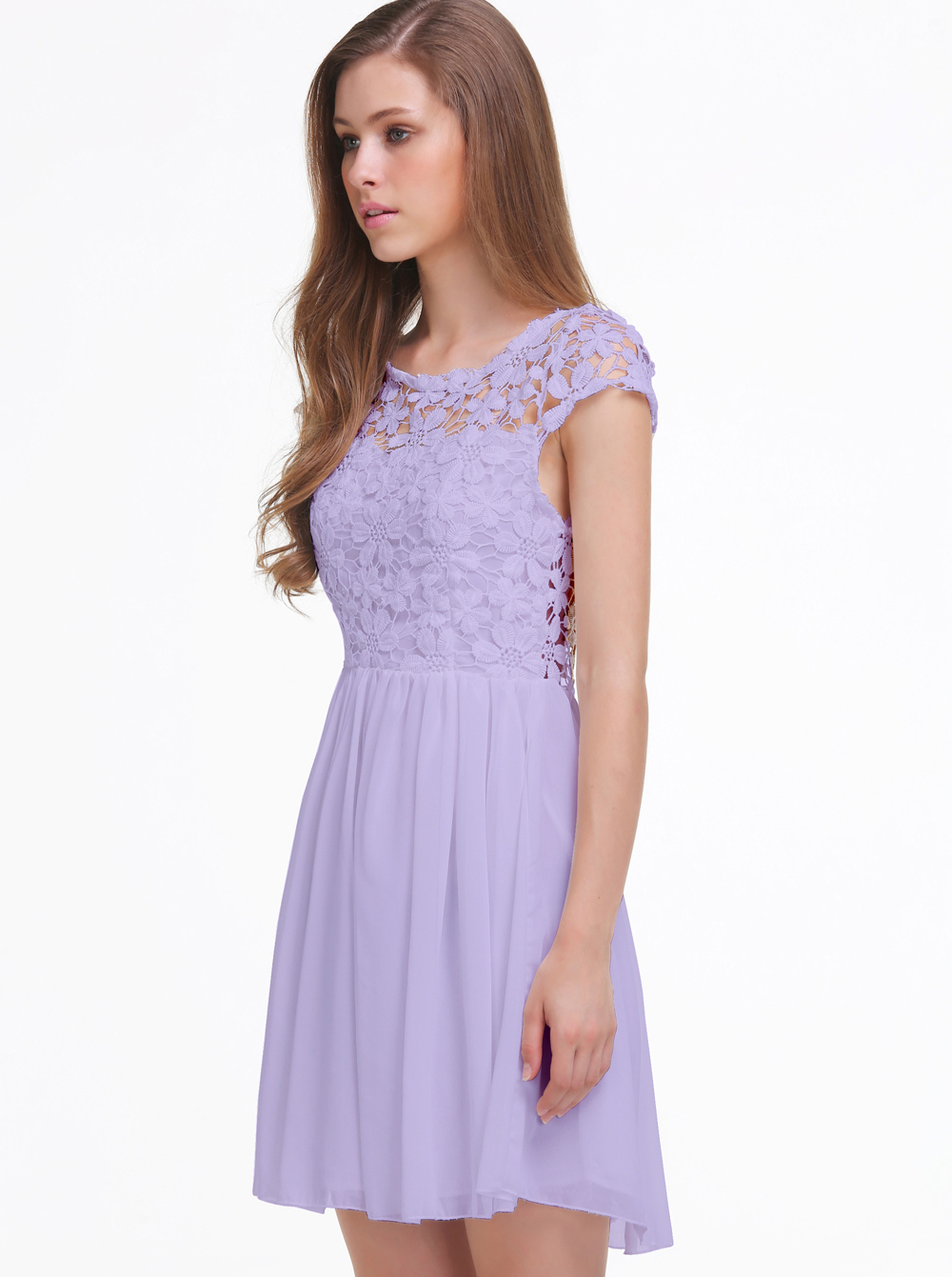 Purple short sleeve hollow floral crochet pleated dress