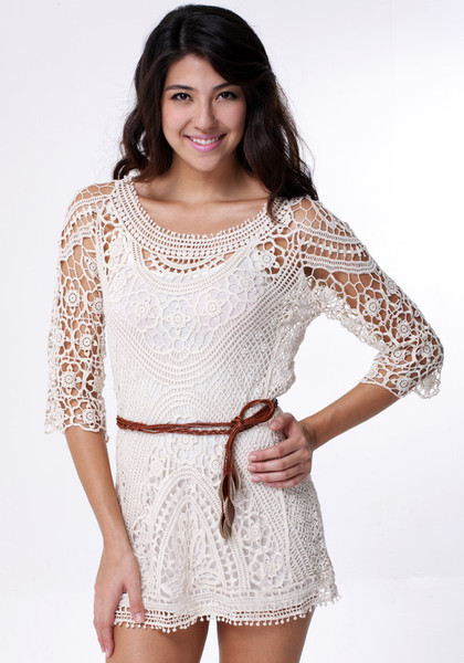 Vintage Crochet Dress - with Belt