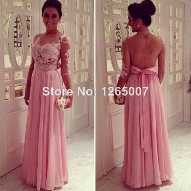Aliexpress.com : Buy 2014 Bateau Neck Three Quarter Sleeves See Through Lace Top Beaded Belt Backless Chiffon A Line Prom Dresses Pargent Gowns from Reliable belt suppliers on SFBridal